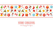 Merry Christmas and Happy New Year Cartoon Flat Greeting Card - vector illustration