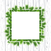 Merry Christmas and Happy New Year Cartoon Flat Square Empty Frame Banner with Fir-Tree Branches - vector illustration