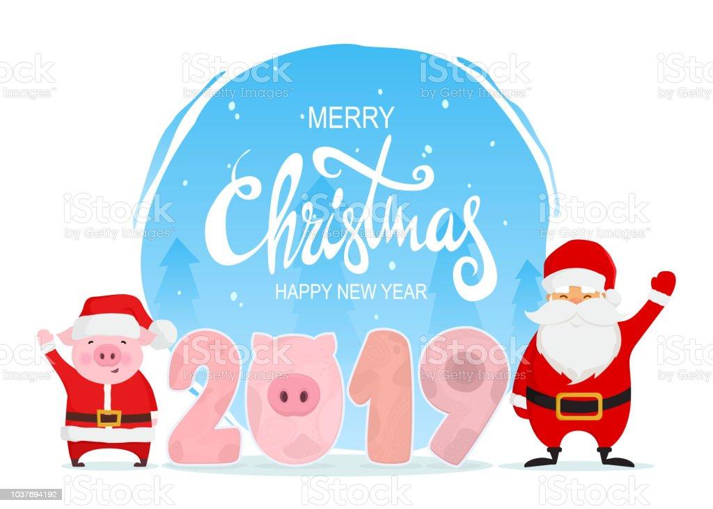 Frohe Weihnachten Und Gluckliches Neues Jahr Cartoon Lustige Figuren