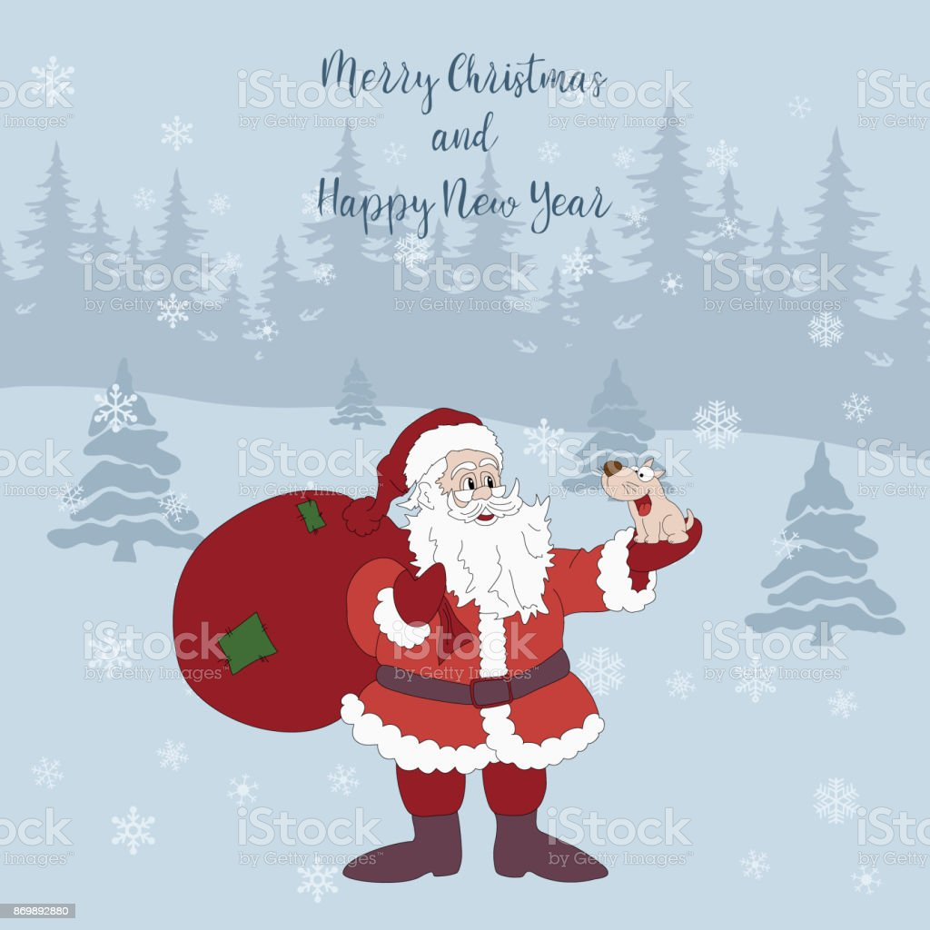 merry christmas and happy new year cartoon greeting card with santa