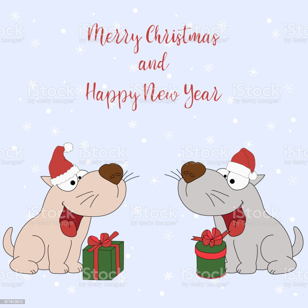 Merry Christmas And Happy New Year. Cartoon Greeting Card With Two Puppies  With Gifts On