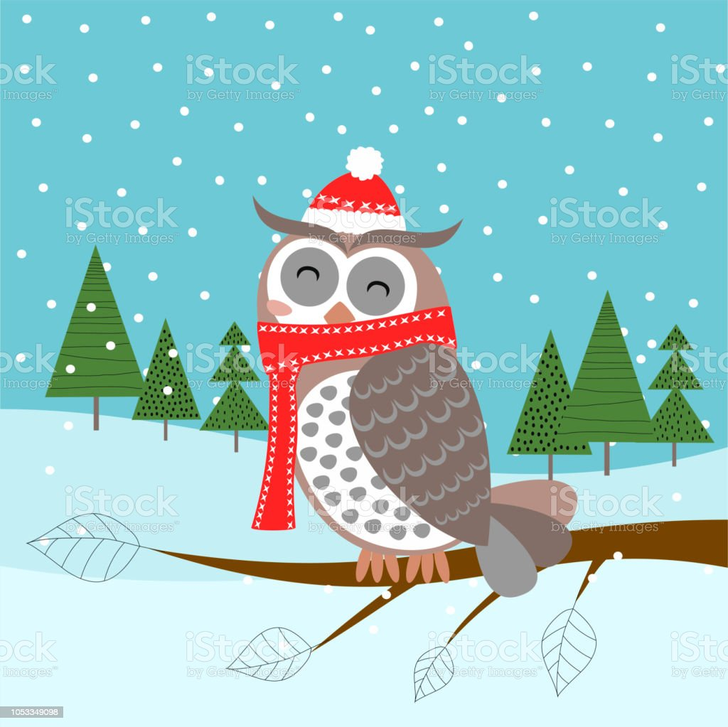 merry christmas and happy new year christmas card with owl royalty free merry christmas