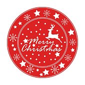 Merry Christmas and Happy New Year circle badges, stamps or labels with text inscription. Decorative template for banner, greetings card, poster. Vector EPS10 illustration