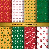 Merry Christmas and Happy New Year Collection of seamless patterns with red, yellow, green and white colors background. Vector illustration.