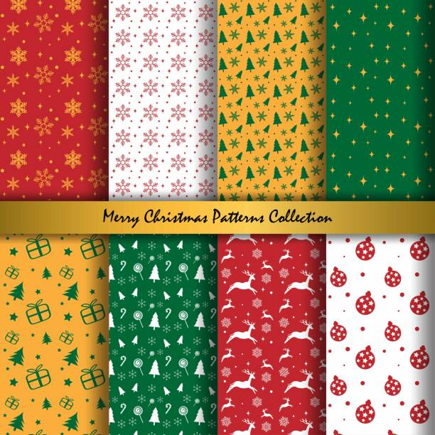 illustrazioni stock, clip art, cartoni animati e icone di tendenza di merry christmas and happy new year collection of seamless patterns with red, yellow, green and white colors background. vector illustration. - pezzatura