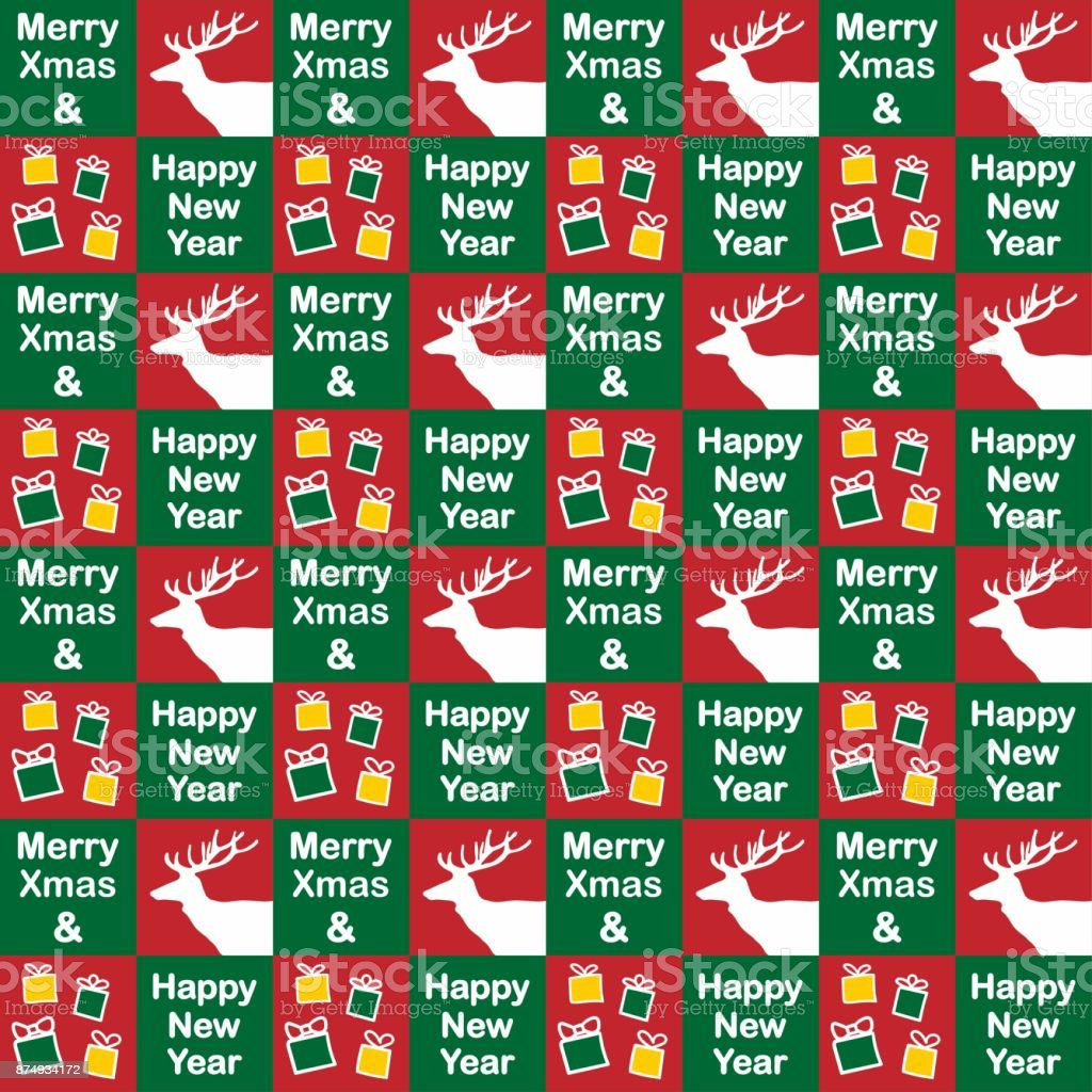 Merry Christmas And Happy New Year Collection Of Seamless Patterns ...