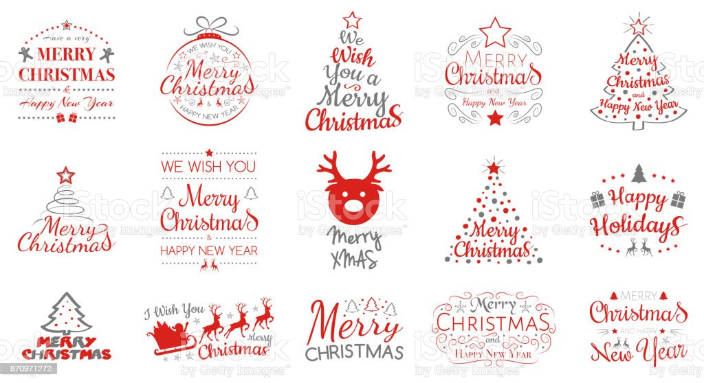 Merry Christmas and Happy New Year - collection of typography. Vector. vector art illustration