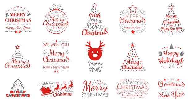 ilustrações de stock, clip art, desenhos animados e ícones de merry christmas and happy new year - collection of typography. vector. - wish