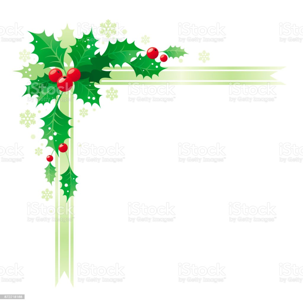 merry christmas and happy new year corner border banner frame with holly berry leafs isolated