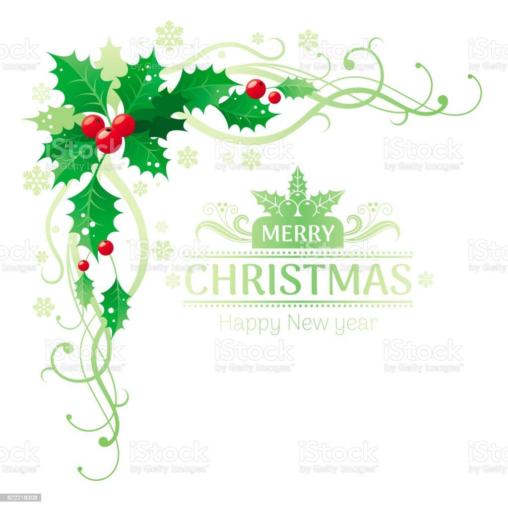 Feliz Navidad Y Feliz Año Nuevo Esquina Frontera Marco Con Baya De ...