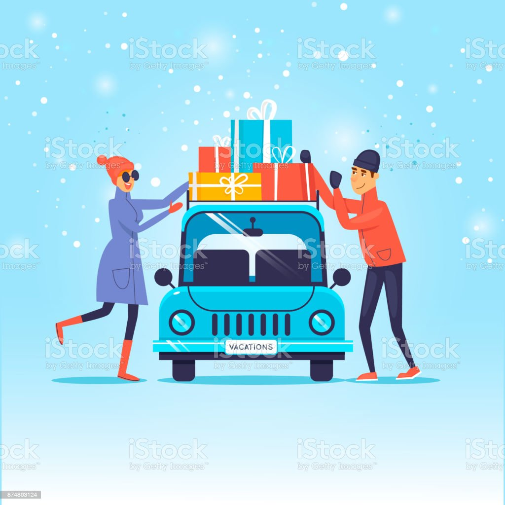 merry christmas and happy new year couple loads gifts on the car flat design
