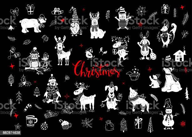Merry christmas and happy new year cute funny hand drawn doodles vector id882874638?b=1&k=6&m=882874638&s=612x612&h=k08ghjy53alr8rwmvwuyc5bh8phvluqnunxbzdnwk74=