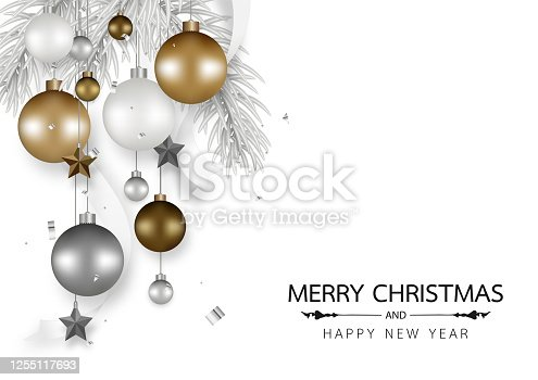 istock Merry Christmas and Happy new year decorated with Christmas balls , Gray pine branch, Star, Ribbon, hanging isolated on white background. Vector illustration. 1255117693