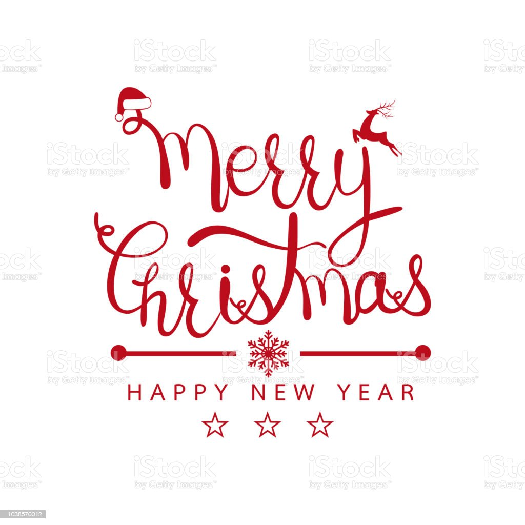 merry christmas and happy new year design background calligraphy