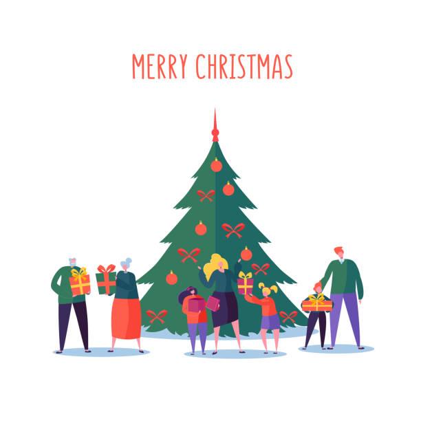 bildbanksillustrationer, clip art samt tecknat material och ikoner med god jul och gott nytt år familjefest. platt personer tecken föräldrar och barn med mor-och farföräldrar och julgran. vektorillustration - christmas gift family