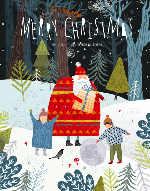 Merry Christmas and Happy New Year! Family with santa claus with a gift in the forest on the nature rejoice in winter. Vector cute holiday illustration for background, card or poster. Merry Christmas and Happy New Year! Family with santa claus with a gift in the forest on the nature rejoice in winter. Vector cute holiday illustration for background, card or poster. christmas family stock illustrations