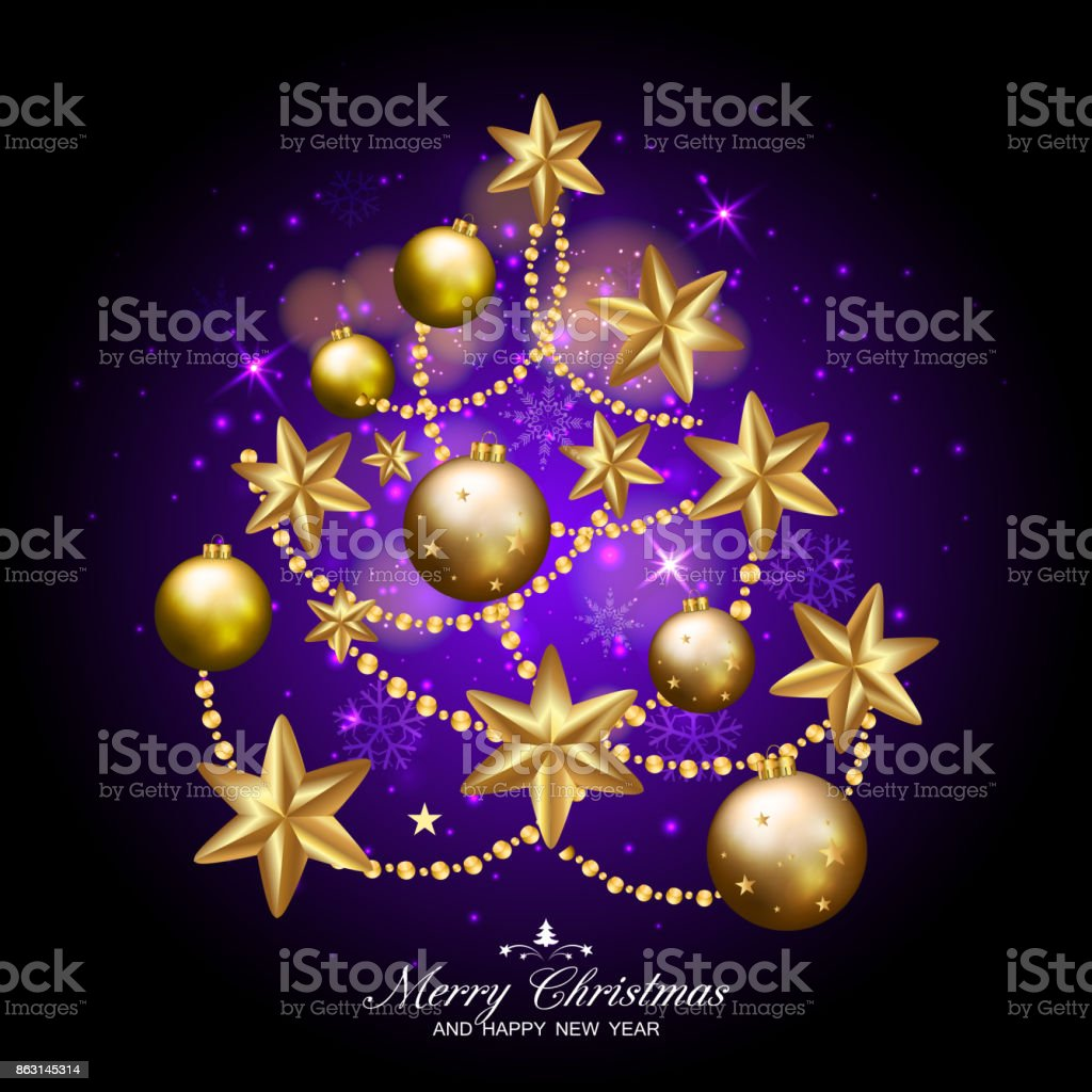 merry christmas and happy new year fancy xmas tree on dark purple background ideal for
