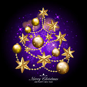 eps10 merry christmas and happy new year fancy xmas tree on dark purple background
