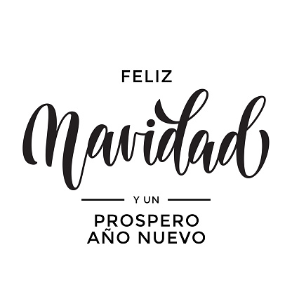 Merry Christmas and Happy New Year Feliz Navidad y Prospero Ano Nuevo hand drawn calligraphy modern lettering text for Spanish Christmas, New Year greeting card. Vector holiday quote white background