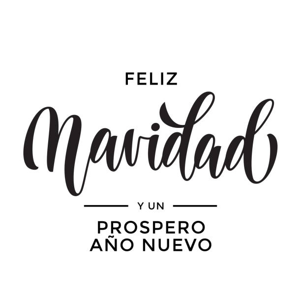Merry Christmas and Happy New Year Feliz Navidad y Prospero Ano Nuevo hand drawn calligraphy modern lettering text for Spanish Christmas, New Year greeting card. Vector holiday quote white background Merry Christmas and Happy New Year Feliz Navidad y Prospero Ano Nuevo hand drawn calligraphy modern lettering text for Spanish Christmas, New Year greeting card. Vector holiday quote white background navidad stock illustrations