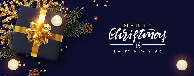 Merry Christmas and Happy New Year. Festive Xmas background with decorative realistic design element. Gift box, decoration glitter gold snowflake, burning candle, pine and spruce branches, gold stars.
