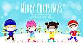 Merry Christmas and Happy new year for new normal lifestyle concept. happy kids in winter costume wearing face mask and social distancing protect coronavirus covid 19, isolated on background  vector