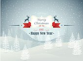 Merry Christmas and Happy New Year forest winter landscape