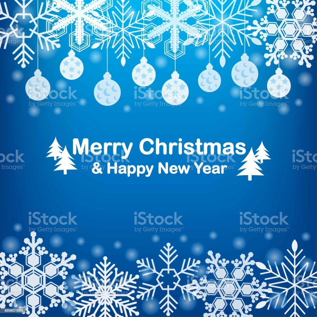 merry christmas and happy new year gift and elements on blue background greeting card xmas