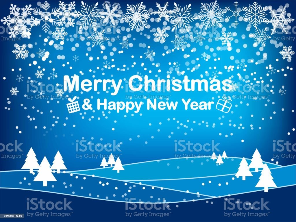 Merry christmas and happy new year gift and elements on blue merry christmas and happy new year gift and elements on blue background greeting card xmas m4hsunfo