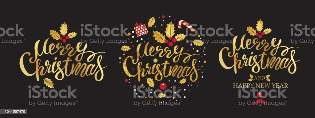 Merry Christmas And Happy New Year Gold Emblem Sign Set On Black ...