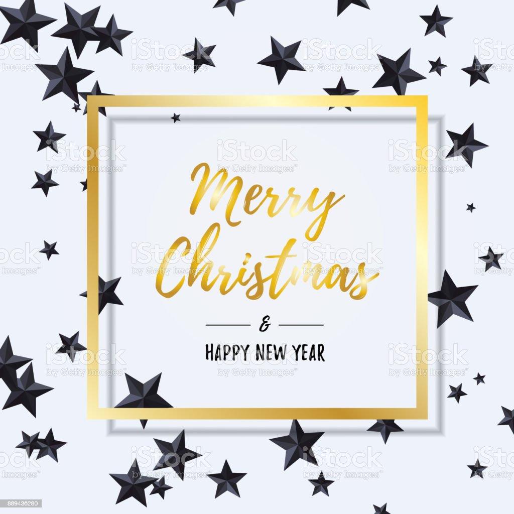Ilustración de Feliz Navidad Y Feliz Año Nuevo Letras De Oro Dentro ...