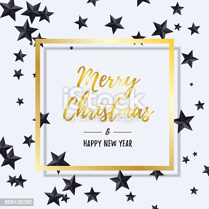 merry christmas and happy new year gold lettering inside golden frame over flat lay with black stars vector illustration usable for banners greeting cards