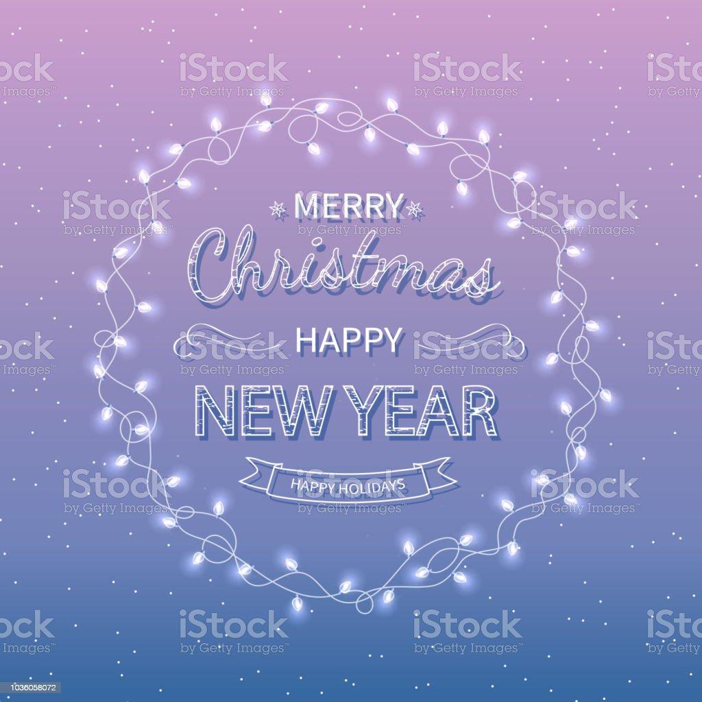 Schriftzug Frohe Weihnachten Beleuchtet.Frohe Weihnachten Und Gluckliches Neues Jahr Gruss