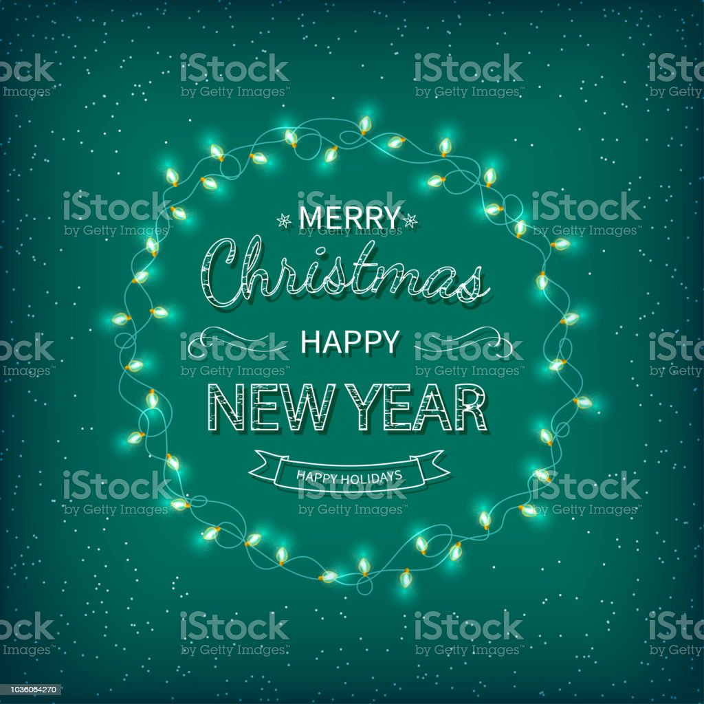 Frohe Weihnachten Schriftzug Beleuchtet.Frohe Weihnachten Und Glückliches Neues Jahr Gruß Hintergrund
