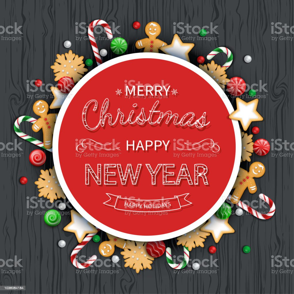 Merry Christmas And Happy New Year Greeting Background Logo