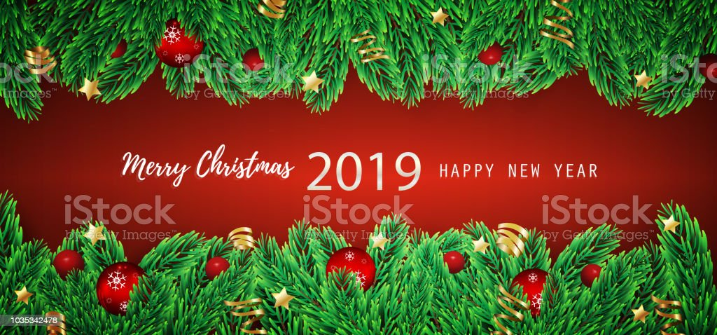 Merry Christmas And Happy New Year Greeting Card Background Stock ...