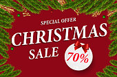 Merry Christmas and Happy New Year Greeting Card Background. Vector Design of  winter vacation sale banner.