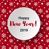 merry christmas and happy new year greeting card banner design on red snowflake background