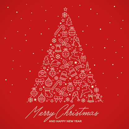 Merry Christmas and happy New Year greeting card. Christmas tree made of xmas icons.