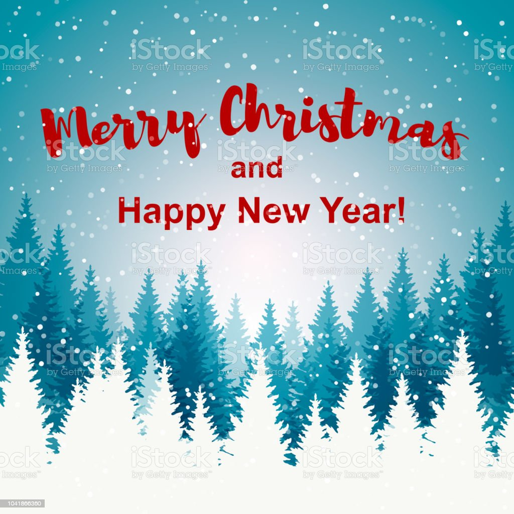 merry christmas and happy new year greeting card christmas tree winter landscape royalty