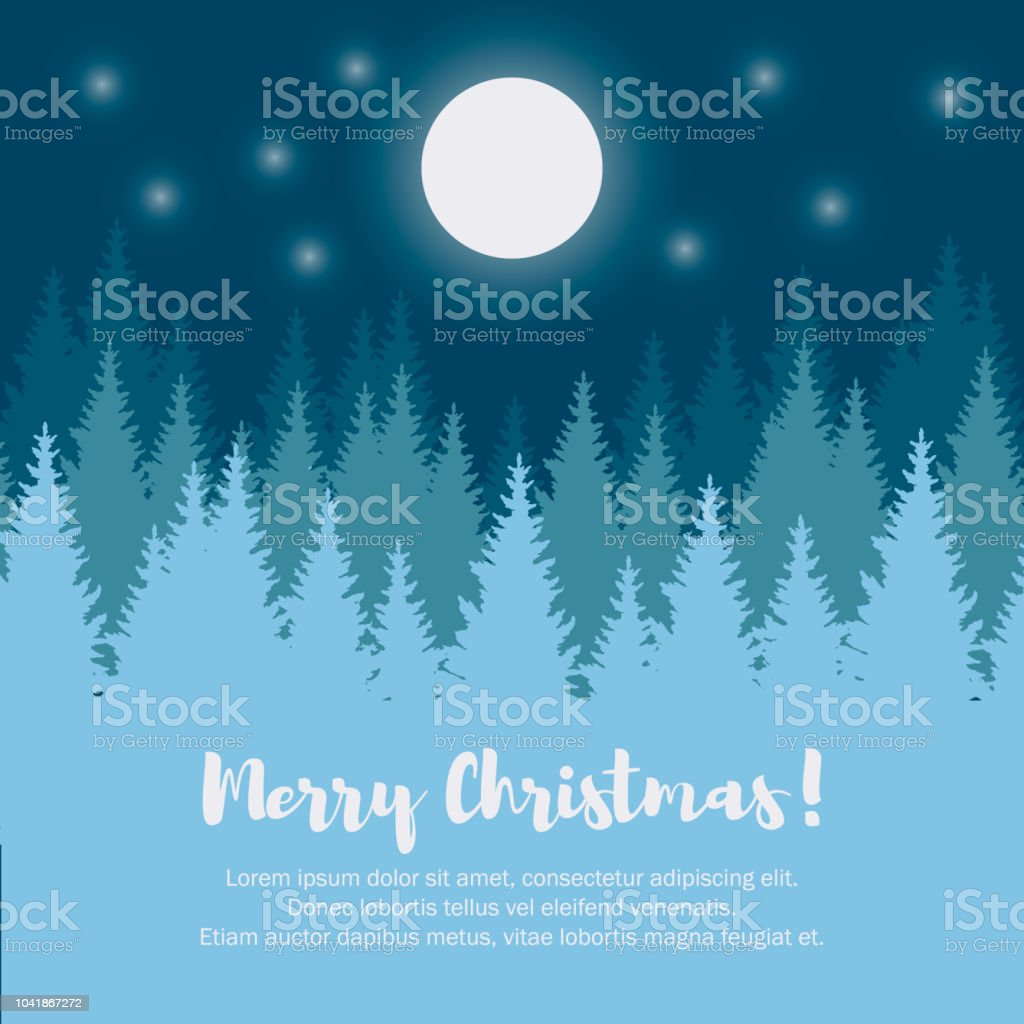 Merry Christmas And Happy New Year Greeting Card Christmas Tree