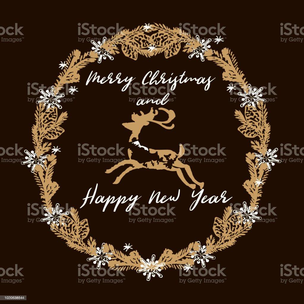 Frohe Weihnachten Und Happy New Year.Frohe Weihnachten Und Happy New Year Grußkarte Adventskranz Rehe Goldene Sterne Snowflackes Weihnachtskugeln Engel Auf Einem Schwarzen Hintergrund