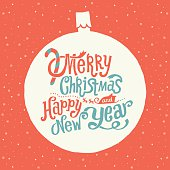 Merry Christmas and Happy New Year Greeting card with Handlettering Typography