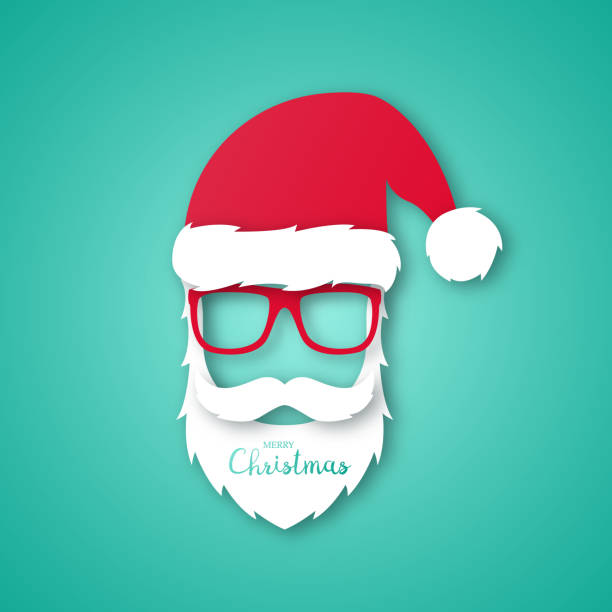 Merry Christmas and Happy New Year greeting card in paper art style. Vector illustration of Hipster man in Santa Claus suit. Merry Christmas and Happy New Year greeting card in paper art style. Vector illustration of Hipster man in Santa Claus suit. santa hat stock illustrations
