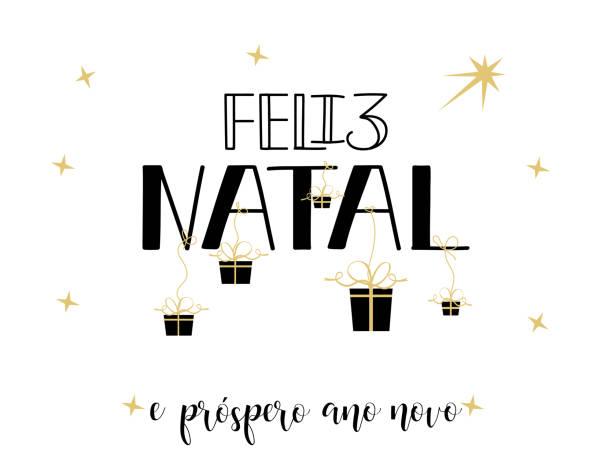 Merry Christmas and Happy New Year greeting card in Portuguese: Feliz Natal e prospero Ano Novo. Hand drawn holidays design ano novo stock illustrations