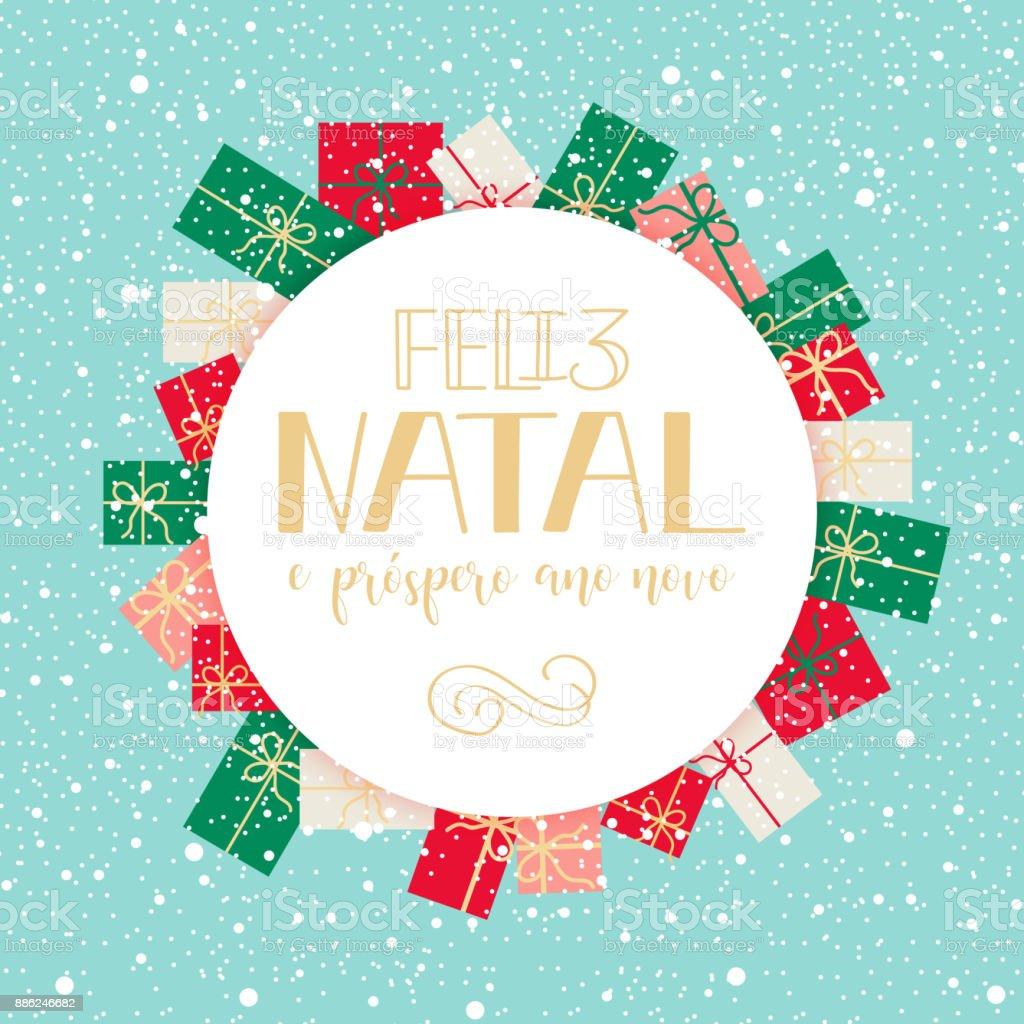 Feliz Navidad En Portugues Brasil.Ilustracion De Feliz Navidad Y Feliz Ano Nuevo Tarjetas De
