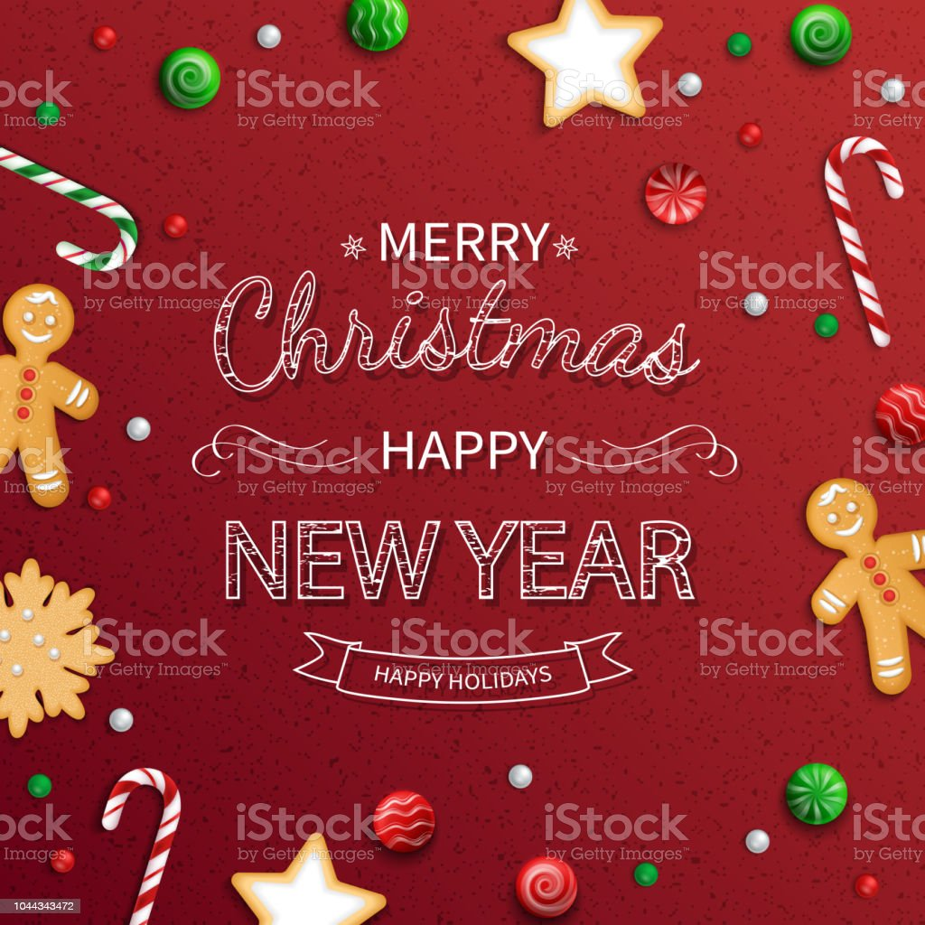 Merry Christmas And Happy New Year Greeting Card Logo Lettering With