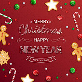 Merry Christmas and Happy New Year  Greeting card. Logo lettering with sweets, cookie, lollipops, candy cane, gingerbread man on red background. For web or printing Top View Vector