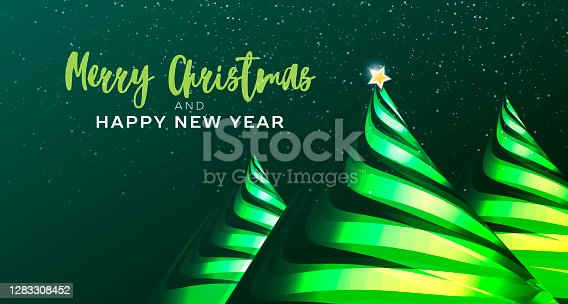 istock Merry Christmas and happy new year greeting card or poster with stylized ribbon Christmas tree with yellow star. Vector illustration. 1283308452