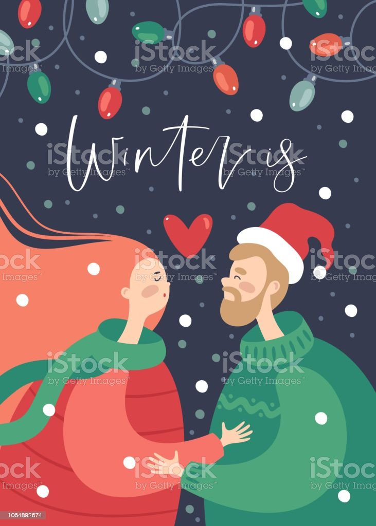 merry christmas and happy new year greeting card romantic couple hugging in winter vector